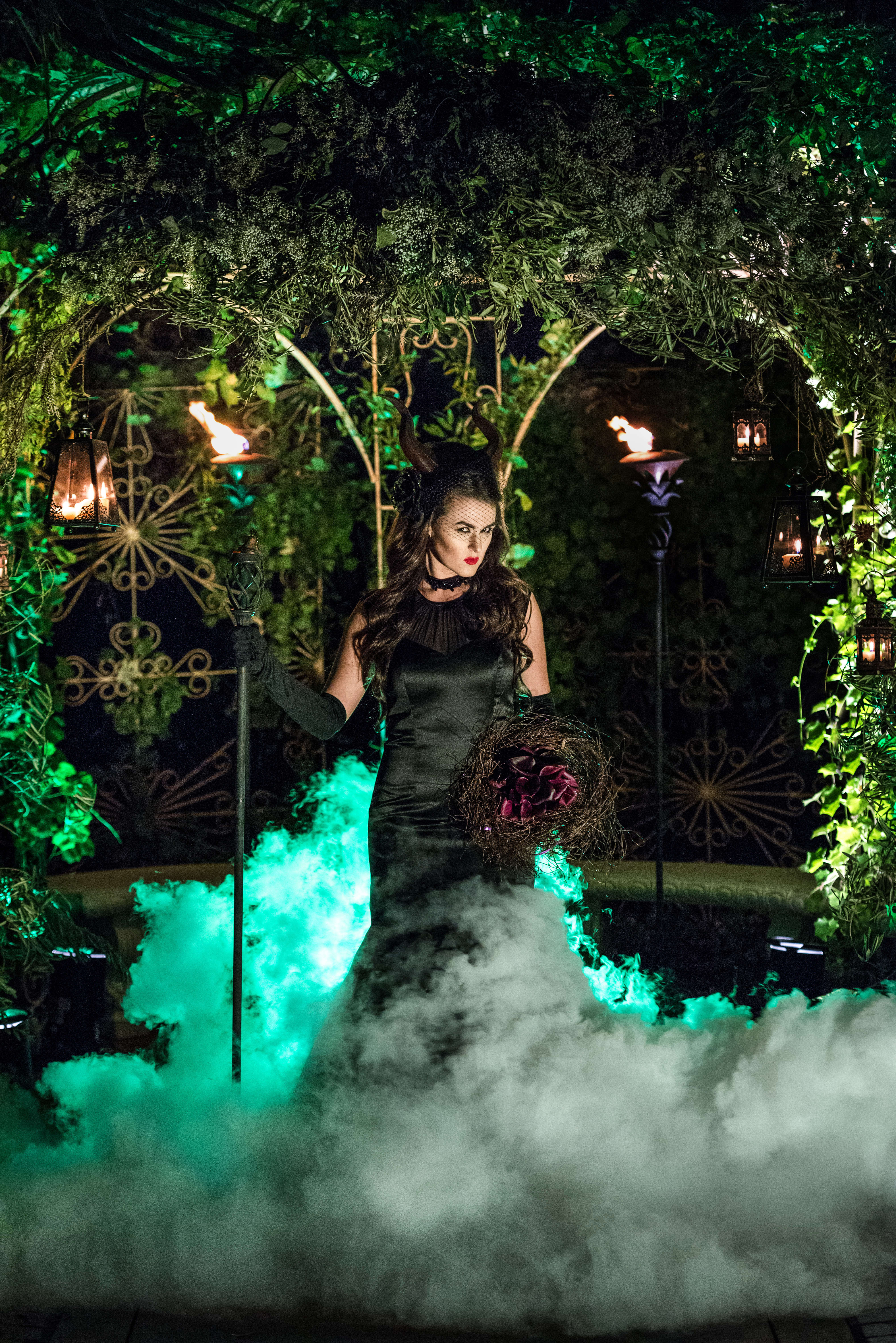 Disney Photo Shoot Maleficent specialty lighting and dancing in the clouds